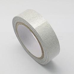 """Ruban de coton, avec de la poudre de paillettes, et du ruban adhésif sur l'autre côté, argenterie, 5/8"""" (15 mm); environ 4.37yards / rouleau (4m / rouleau), 10 rouleaux / groupe(OCOR-S078-1.5cm-05)"""