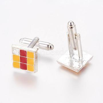 Boutons de manchette en laiton, avec plateau en émail en alliage, carrée, couleur platine, jaune et rouge, taille: environ 13 mm de long,  largeur de 13 mm, hauteur de 26 mm (KK-Q243-5)