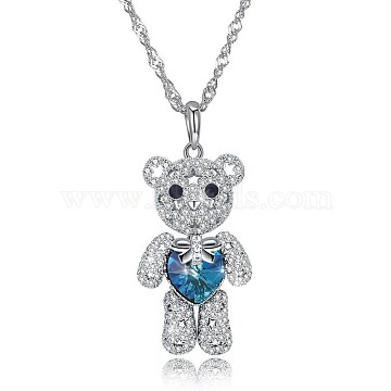 Classic 925 Sterling Silver Pendant Necklace, Bear with Austrian Crystal, with Cubic Zirconia, Silver, 202_Aquamarine, 17.7 inches(45cm)(NJEW-BB30729-A)