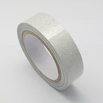 Cotton Ribbon, with Glitter Powder, and Adhesive Tape on the Other Side, Silver, 5/8inch(15mm); about 4.37yards/roll(4m/roll), 10rolls/group(OCOR-S078-1.5cm-05)