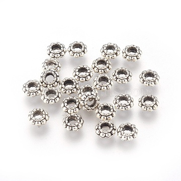 Tibetan Style Alloy Spacer Beads, Lead Free & Cadmium Free & Nickel Free, Flower, Antique Silver, 6x3mm, Hole: 2.5mm(X-LF1565Y-NF)