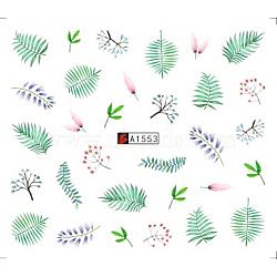 décalques d'art de transfert de l'eau de nail art, pour les décorations d'ongles, feuille de monstera / feuille tropicale / feuille de palmier, coloré, 6.125x5.3 cm(MRMJ-Q080-A1553)
