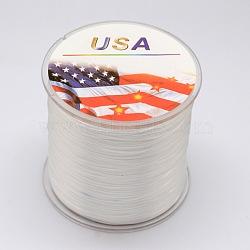 Flat Elastic Crystal String, Elastic Beading Thread, for Stretch Bracelet Making, White, 0.6mm, 300m/roll(EW-F002-04)