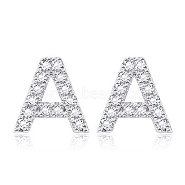 Brass Cubic Zirconia Stud Earrings, with Ear Nuts, Alphabet, Letter A, Clear, Platinum(EJEW-BB35118-A)