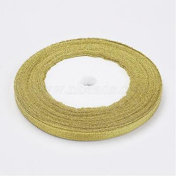 Glitter Metallic Ribbon, Sparkle Ribbon, DIY Material for Organza Bow, Double Sided, Golden Color, Size: about 1/4 inch(6mm) wide, 25yards/roll(22.86m/roll), 10rolls/Group, 250yards/group (228.6m/group)(RS6mmY-G)