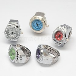 Mixed Stretch Watch Band Alloy Finger Ring Watches, Platinum, 18~20mm(WACH-M005-M)