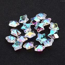Pendentifs en verre, facettes étoile de Noël, clair ab, de couleur plaquée ab , 13x7mm, Trou: 1mm(X-GB005AB)