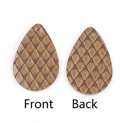 Pendentifs en cuir pu, déposer avec motif squama, darkgoldenrod, 39x25x1.5mm, Trou: 1.5mm(FIND-T020-033D)