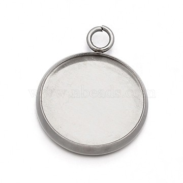Flat Round 304 Stainless Steel Pendant Cabochon Settings, Stainless Steel Color, 23x20x2mm, Hole: 2.2mm(X-STAS-N073-02)