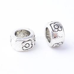 Perles européennes en alliage de style tibétain, Perles avec un grand trou   , colonne, sans cadmium et sans plomb, argent antique, 7x4mm, Trou: 4.5mm(X-TIBE-Q063-158AS-RS)
