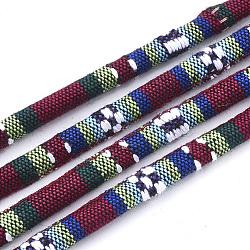 Cordes en tissu de style ethnique, avec cordon en coton à l'intérieur, colorées, 6.5~7x5 mm; environ 100 m / bundle(OCOR-S034-26)