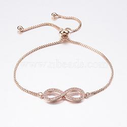 """Bracelets bolo réglables en laiton, Bracelets coulissants, avec zircone et chaînes, infini, or rose, 10-5/8"""" (270 mm)(BJEW-P200-05RG)"""
