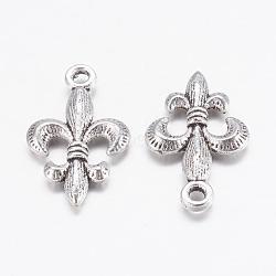Tibétain alliage métallique de style fleur de lis pendentifs, sans plomb et sans cadmium, argent antique, longueur d'environ 24 mm ,  largeur de 14 mm, épaisseur de 3mm, Trou: 2mm