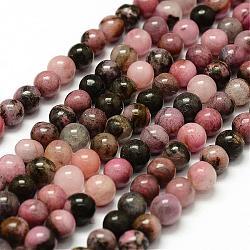 """Chapelets de perles en rhodonite naturelle, rond, 8mm, trou: 1mm; environ 47 pcs/chapelet, 15.3""""(G-F364-01-8mm)"""