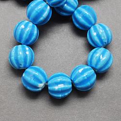 Perles en porcelaine manuelles, porcelaine émaillée lumineux, citrouille, dodgerblue, 13x12mm, Trou: 2mm(X-PORC-Q204-4)