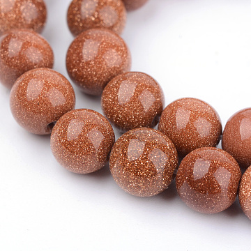 Synthetic Goldstone Beads Strands, Round, 6~6.5mm, Hole: 1mm, about 63pcs/strand, 15.5 inches(X-G-Q462-6mm-27)
