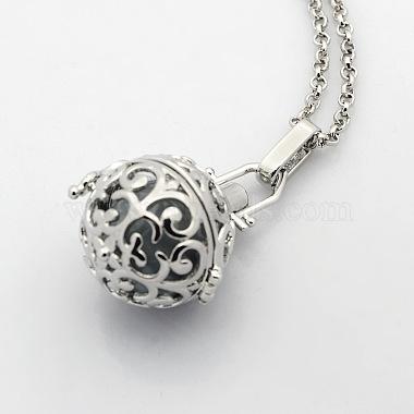 Trendy Women's Brass Cage Locket Pendant Necklaces(X-NJEW-L076-10)-2