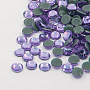Glass Hotfix Rhinestone, Grade AA, Flat Back & Faceted, Flat Round, Violet, SS10, 2.7~2.8mm; about 1440pcs/bag