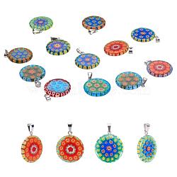 Pendentifs de millefiori vernissés, avec 304 accessoires en acier inoxydable, plat rond, couleur inoxydable, couleur mixte, 23x20x3~3.5mm, Trou: 2.5x5mm(LAMP-S191-08)