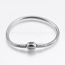 """304 chaîne de serpent rond en acier inoxydable de style européen, avec des agrafes, couleur inoxydable, 6-1/4"""" (16cm); 3mm(STAS-I097-005B-P)"""