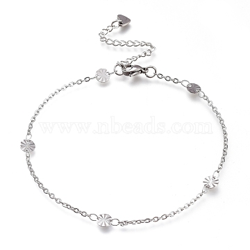 304 Stainless Steel Cable Chain Anklets, with Textured Flat Round Links and Lobster Claw Clasps, Stainless Steel Color, 9-1/8 inches(23cm)(AJEW-M026-04P)