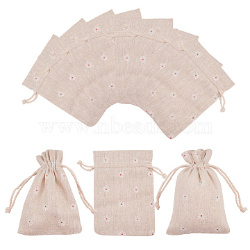 Polycotton(Polyester Cotton) Packing Pouches Drawstring Bags, with Printed Flower, Wheat, 14x10cm(ABAG-T004-10x14-01)