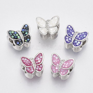 Brass Cubic Zirconia European Beads, with Epoxy Resin and Shell, Large Hole Beads, Butterfly, Platinum, Mixed Color, 10x12x9mm, Hole: 5mm(ZIRC-N038-05)