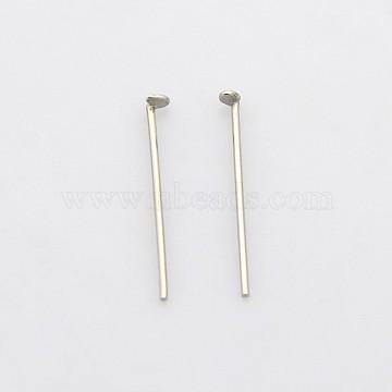 304 Stainless Steel Flat Head Pins, Stainless Steel Color, 16x0.6mm, Head: 1mm(STAS-N033-0.6x16mm)
