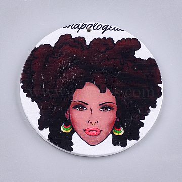 Printed Wooden Big Pendants, Dyed, Flat Round with Fashion Lady, Colorful, 60x2.5mm, Hole: 1.5mm(X-WOOD-S047-32)