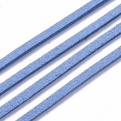 DodgerBlue Tone Suede Cord, Faux Suede Lace, about 1m long, 2.5mm wide, about 1.4mm thick, 1m/Strand(X-LW14197Y)