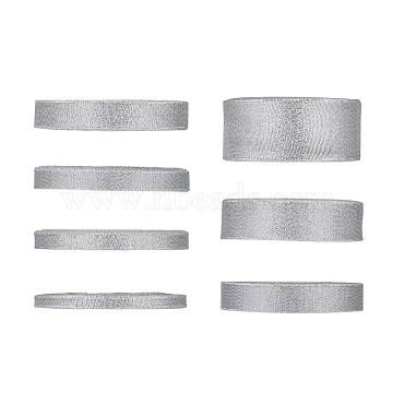 Glitter Metallic Ribbon, Sparkle Ribbon, DIY Material for Organza Bow, Double Sided, Silver, 7rolls/set(ORIB-TA0001-02S)