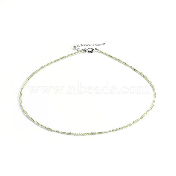 Natural Peridot Beaded Necklaces, with Brass Findings, Round, Faceted, Platinum, 16.3inches(41.5cm); beads: 2mm(NJEW-F245-A03)