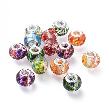 Mixed Large Hole Rondelle Spray Painted Glass European Beads, with Silver Color Plated Brass Double Cores, 15x12mm, Hole: 5mm(X-GPDL-R004-M1)