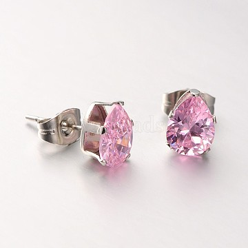 304 Stainless Steel Pave Cubic Zirconia Ear Studs, teardrop, Stainless Steel Color, Pearl Pink, 10x8x5mm; Pin: 0.7mm(X-EJEW-L098-8mm-06)