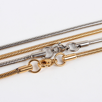 """304 Stainless Steel Snake Chain Necklace Makings, with Lobster Claw Clasps, Mixed Color, 19.7""""(50cm)(STAS-P045-29)"""