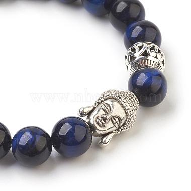 Natural Lapis Lazuli Beads Stretch Bracelets(BJEW-JB03849-04)-2