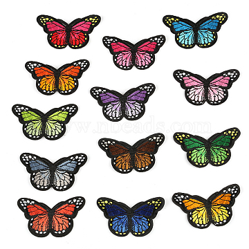 Computerized Embroidery Cloth Iron on/Sew on Patches, Costume Accessories, Appliques, Butterfly, Mixed Color, 46x78mm(X-DIY-F038-A-M)