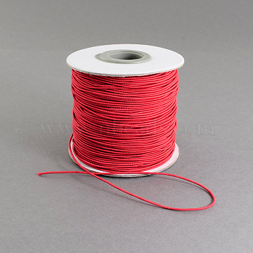 Round Elastic Cord, with Nylon Outside and Rubber Inside, Red, 0.8mm; about 100m/roll(EC-R001-0.8mm-019A)