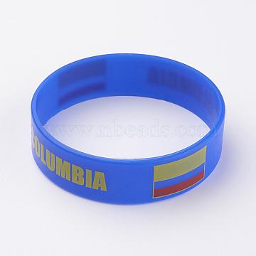 Silicone Wristbands Bracelets, Cord Bracelets, Blue, 202x19x2mm(BJEW-K168-01M)