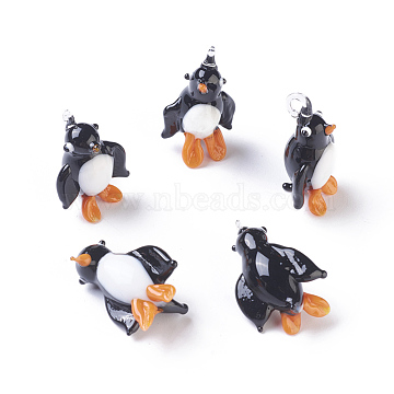 Handmade Lampwork Pendants, Penguin, Black, 24~32x17~20x12~20mm, Hole: 2~4mm(LAMP-L075-087)