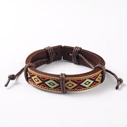 Bracelets réglables unisexe en corde de peau de vache, avec motif losange cordon en tissu, colorées, 53x54mm(BJEW-L544-03A)