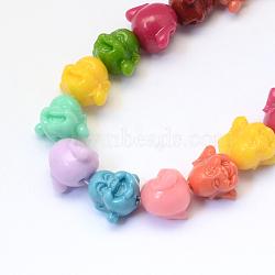 Perles de corail synthétiques teintes, Bouddha, couleur mélangée, 12x14x11 mm, trou: 1~2 mm(CORA-Q023-02)