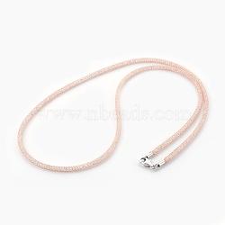 """Colliers à mailles en laiton, avec des perles de verre à l'intérieur, clair, or rose, 20.5~21"""" (52~53.5 cm)(NJEW-F241-01RG-C)"""