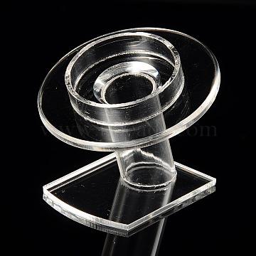 Organic Glass Bracelets/Bangles Display, Clear, 70x80x75mm(X-BDIS-N002-01)