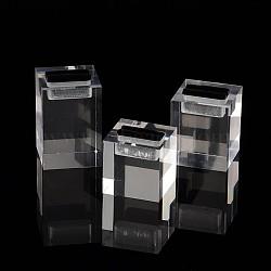 Оргстекло кольцо отображает наборы, с бантиком, кубоид, прозрачные, 36~55x37x35~36 мм(RDIS-N001-01)