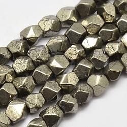 pyrite naturelles brins de perles, étoiles coupées perles rondes, 4x4x4 mm, trou: 1 mm; environ 97 perle / brin, 15.5(G-F197-02-4x4mm)