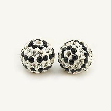 Perles de strass en argile polymère, Perles de boule pavé disco , Grade a, rond, jet / cristal, 12mm, Trou: 2mm(X-RB-C1439-12mm-1)