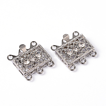Platinum Plated Brass Rhinestone Clasps, Multi-strand Box Clasps, about 18mm wide, 17mm long, 7mm thick, hole: 1.5mm(X-KK116)