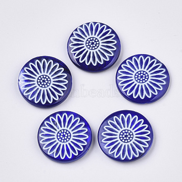 Spray Paint Freshwater Shell Beads, Printed, Flat Round with Daisy Flower, MediumBlue, 20x4mm, Hole: 0.8mm(X-SHEL-N026-05A)