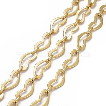 Alloy Heart Link Chains, with Spool, Long-lasting Plated, Lead Free & Cadmium Free, Unwelded, Golden, Heart: 24x12x1.5mm, Link: 10x5x2mm, about 32.8 Feet(10m)/roll(LCHA-I001-01G-RS)